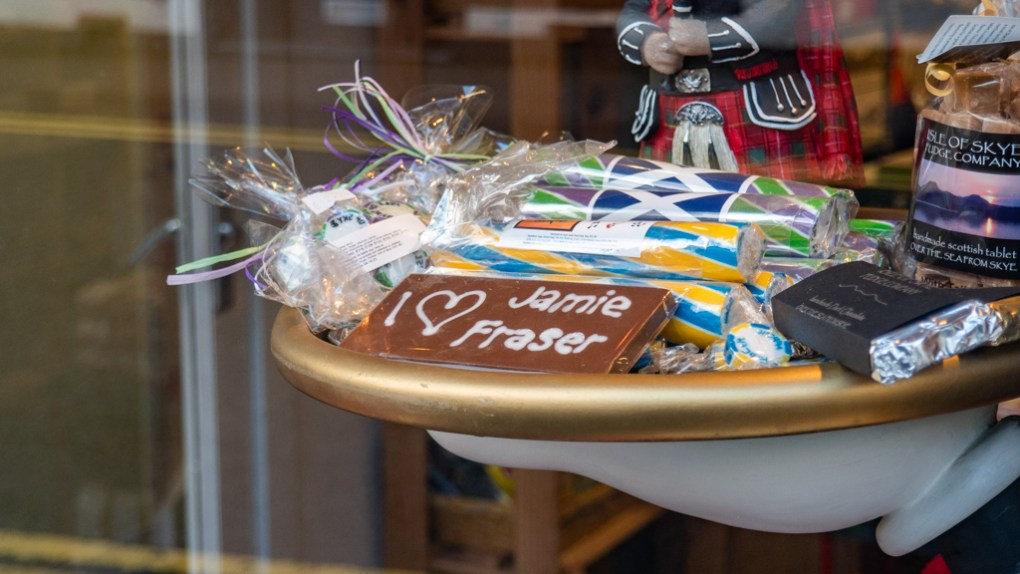 I heart Jamie Fraser chocolate bar on display in Portree on the Isle of Skye, Scotland