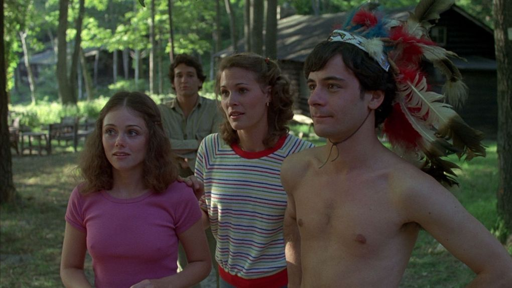 Friday the 13th (1980) film still with four camp counsellors talking