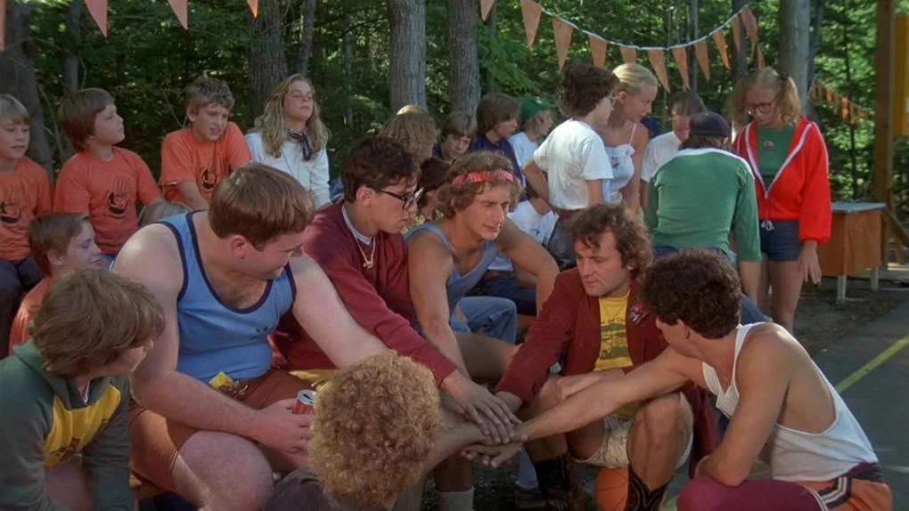 Meatballs (1979) film still featuring Bill Murray and campers outside