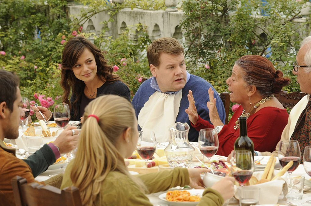 One Chance (2013) film still of James Corden dining in Italy