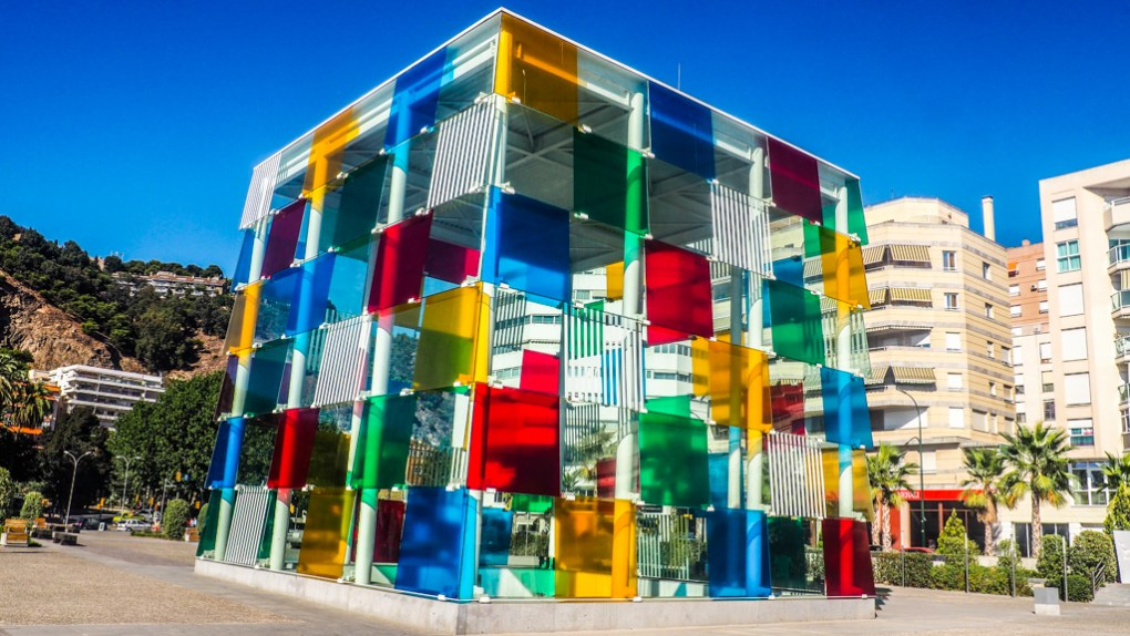 Centre Pompidou Málaga Art Gallery entrance glass box with multicoloured panels