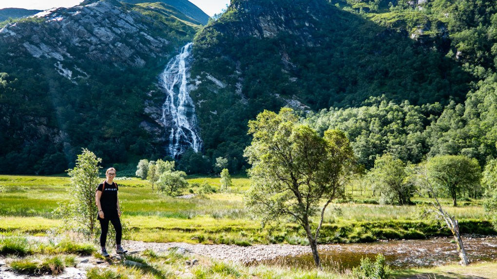 Almost Ginger blog owner at Steall Waterfall and Gorge in Glen Nevis, Scotland