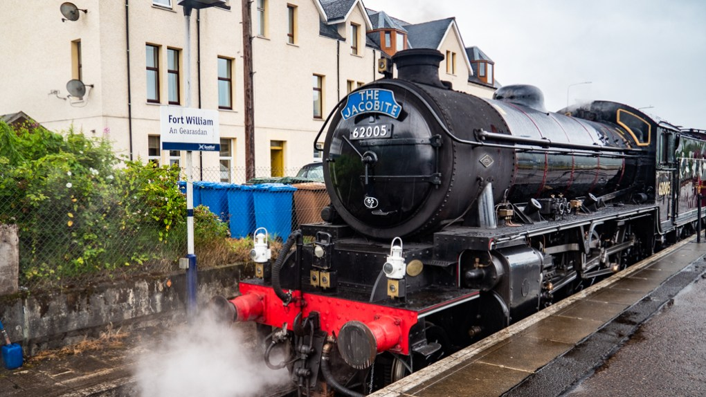 Front view of Jacobite Steam Train in Fort William Station, Scotland