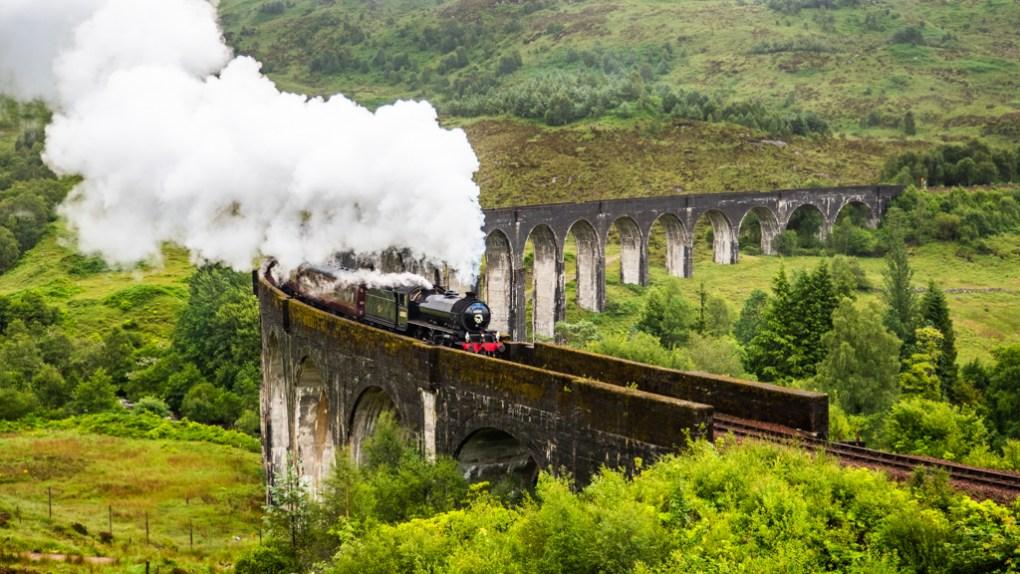 Jacobite Steam Train on Glenfinnan Viaduct, Scotland