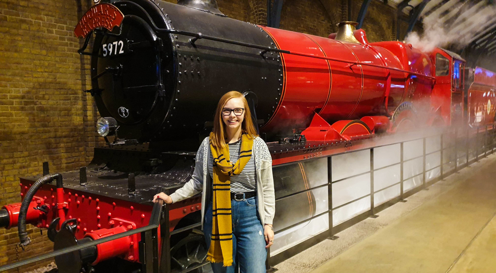 Almost Ginger blog owner with the Hogwarts Express train at the Harry Potter Studio Tour in London