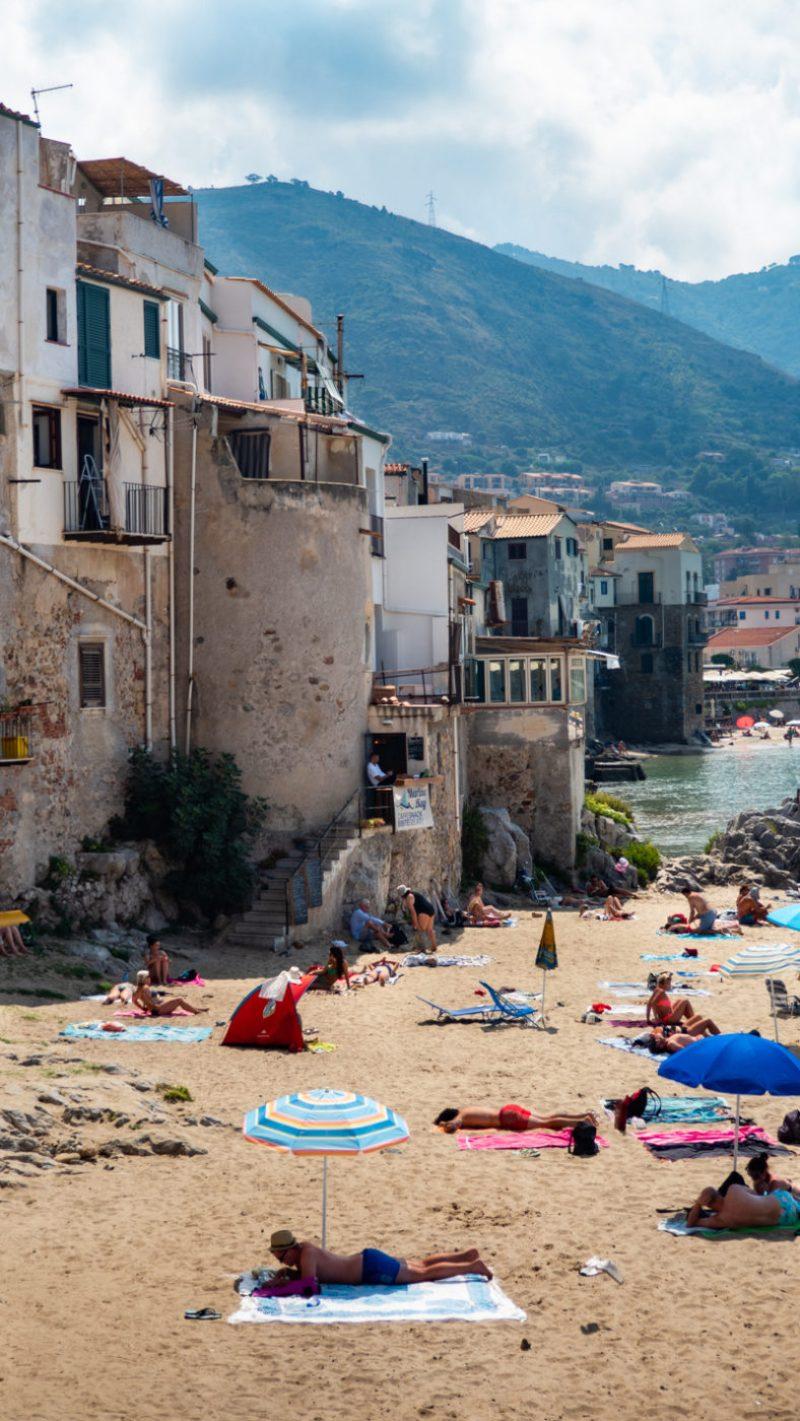 Cefalù beach and houses inCefalù, Sicily