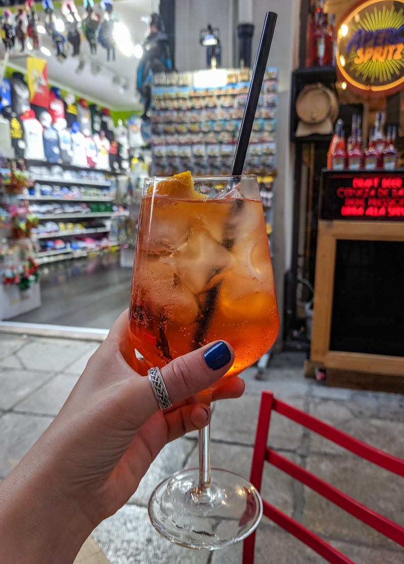 Aperol Spritz in a bar on the Quattro Canti in Palermo, Sicily