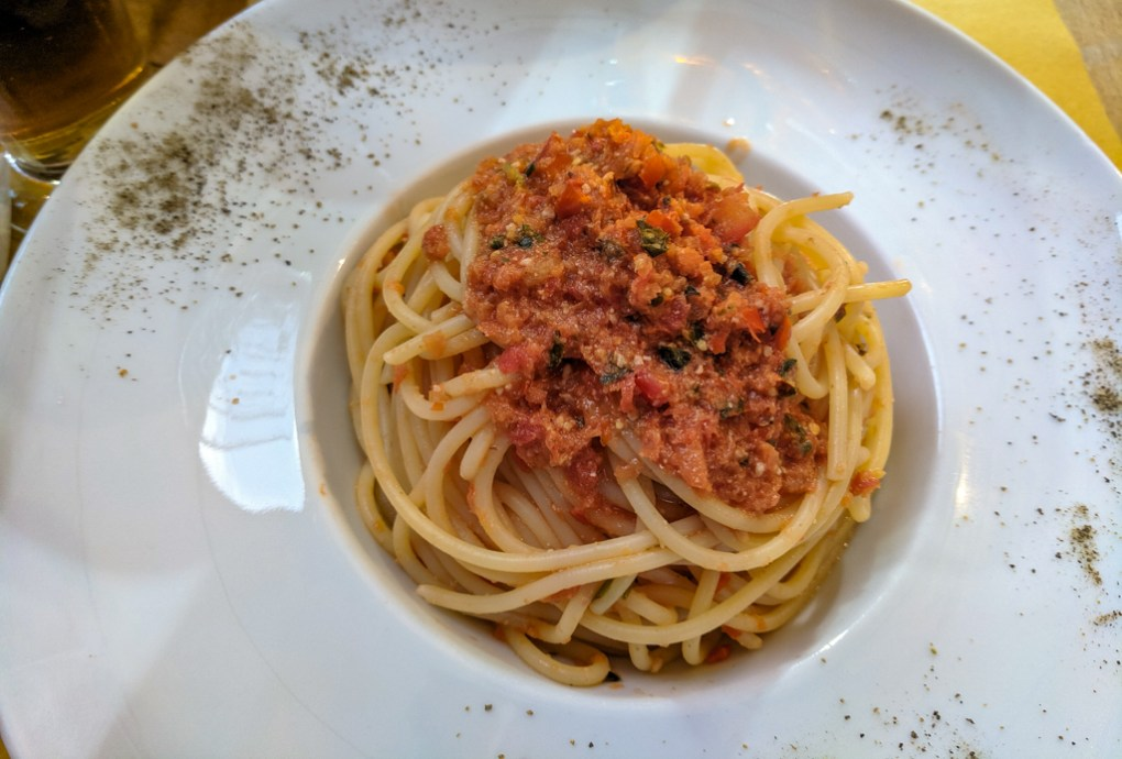 Tomato pasta from a restaurant on the Quattro Canti in Palermo, Sicily
