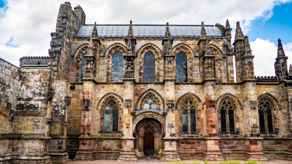 Famous Movie Location Rosslyn Chapel in Edinburgh, Scotland
