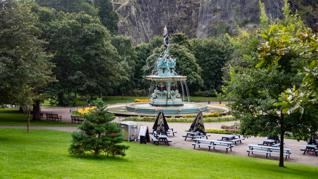 Ross Fountain in Princes Street Gardens in Edinburgh, Scotland Eurovision Song Contest: The Story of Fire Saga Filming Location