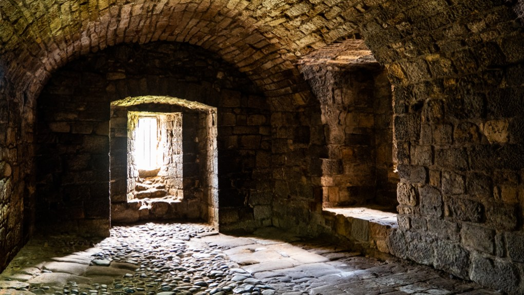 Dungeons in Linlithgow Palace used as an Outlander filming location in Linlithgow, Scotland