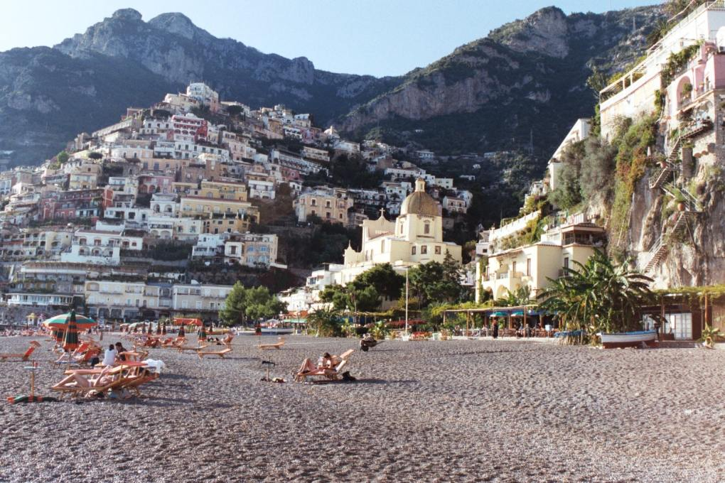 Positano Beach in the Amalfi Coast, Italy