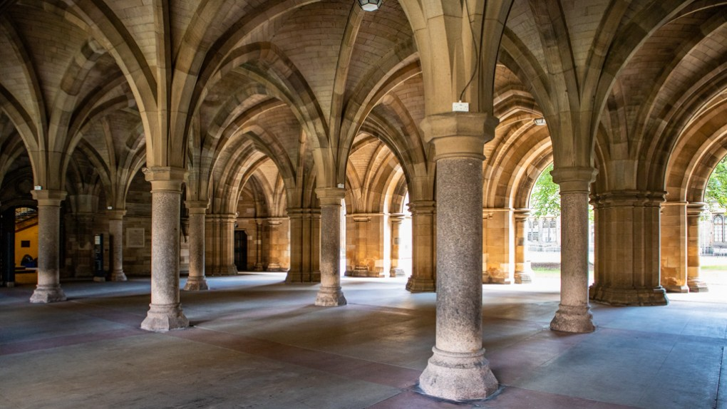 University of Glasgow Cloisters in Glasgow, Scotland Glasgow Outlander Location