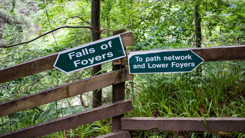 Signs to the Falls of Foyers near Loch Ness in Inverness, Scotland