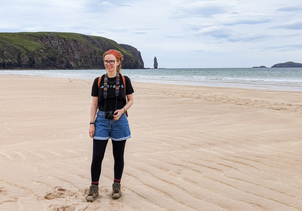 Almost Ginger blog owner on Sandwood Bay Beach on the North Coast 500 in Scotland