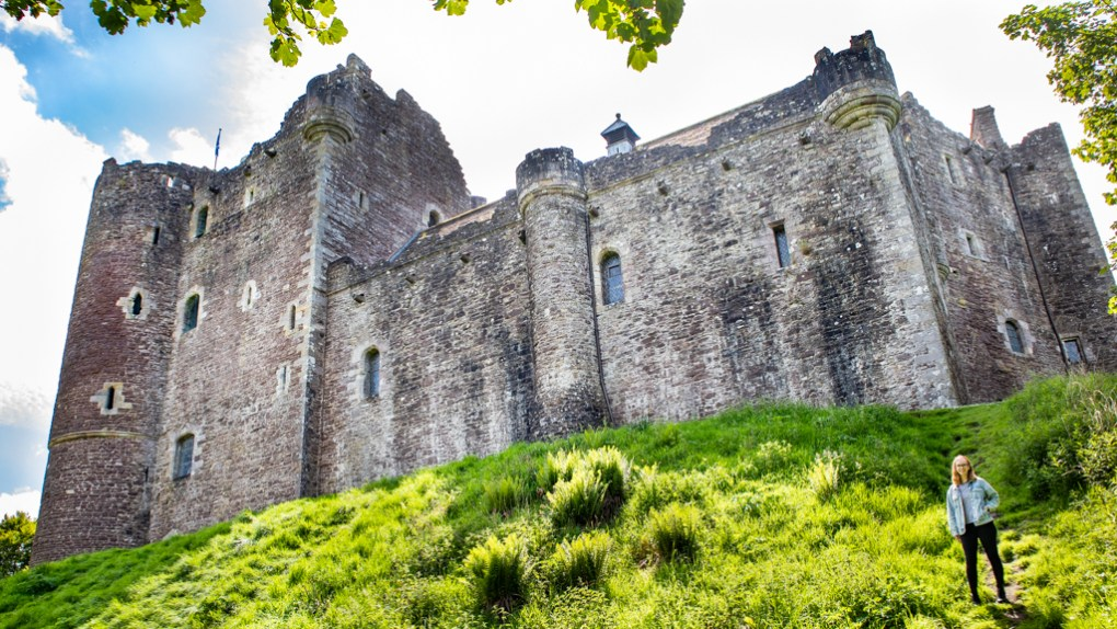 Almost Ginger blog owner at Doune Castle in Doune, Scotland