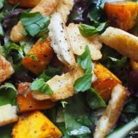 Home Again Recipes. Pumpkin and Haloumi Salad and Nasi Goreng Ikan