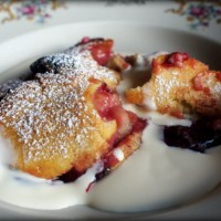 Plum Clafoutis, a Light Summery Pudding