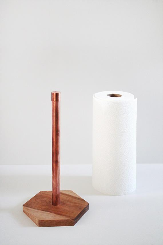 diy copper & wood paper towel holder