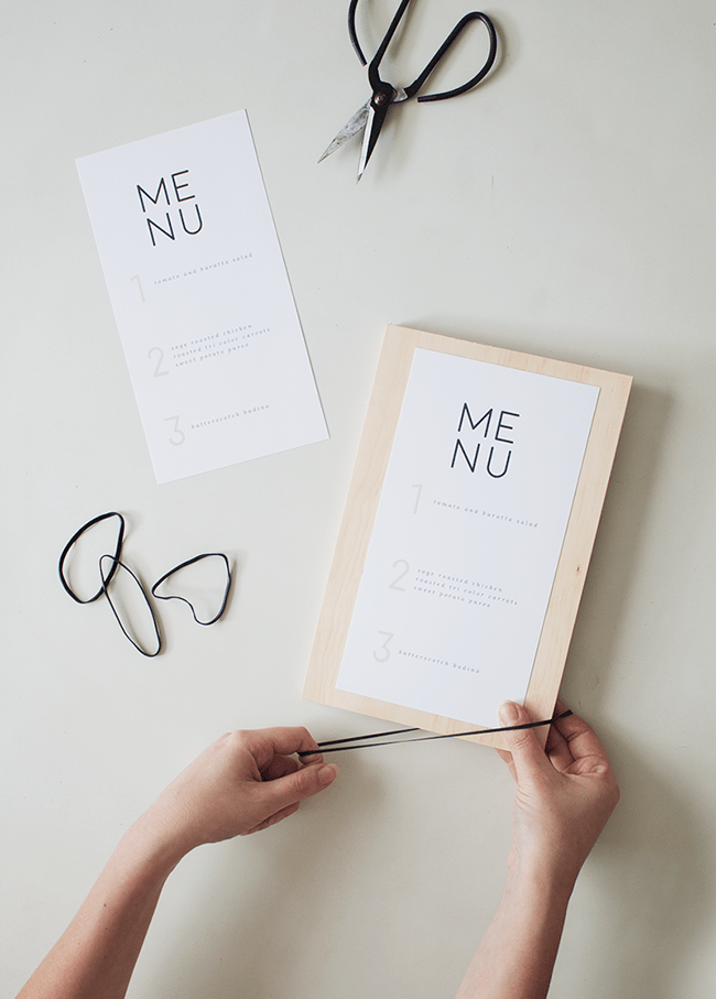 DIY wood + rubber band menus with free printable | almost makes perfect