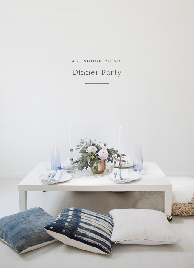 an indoor picnic dinner party