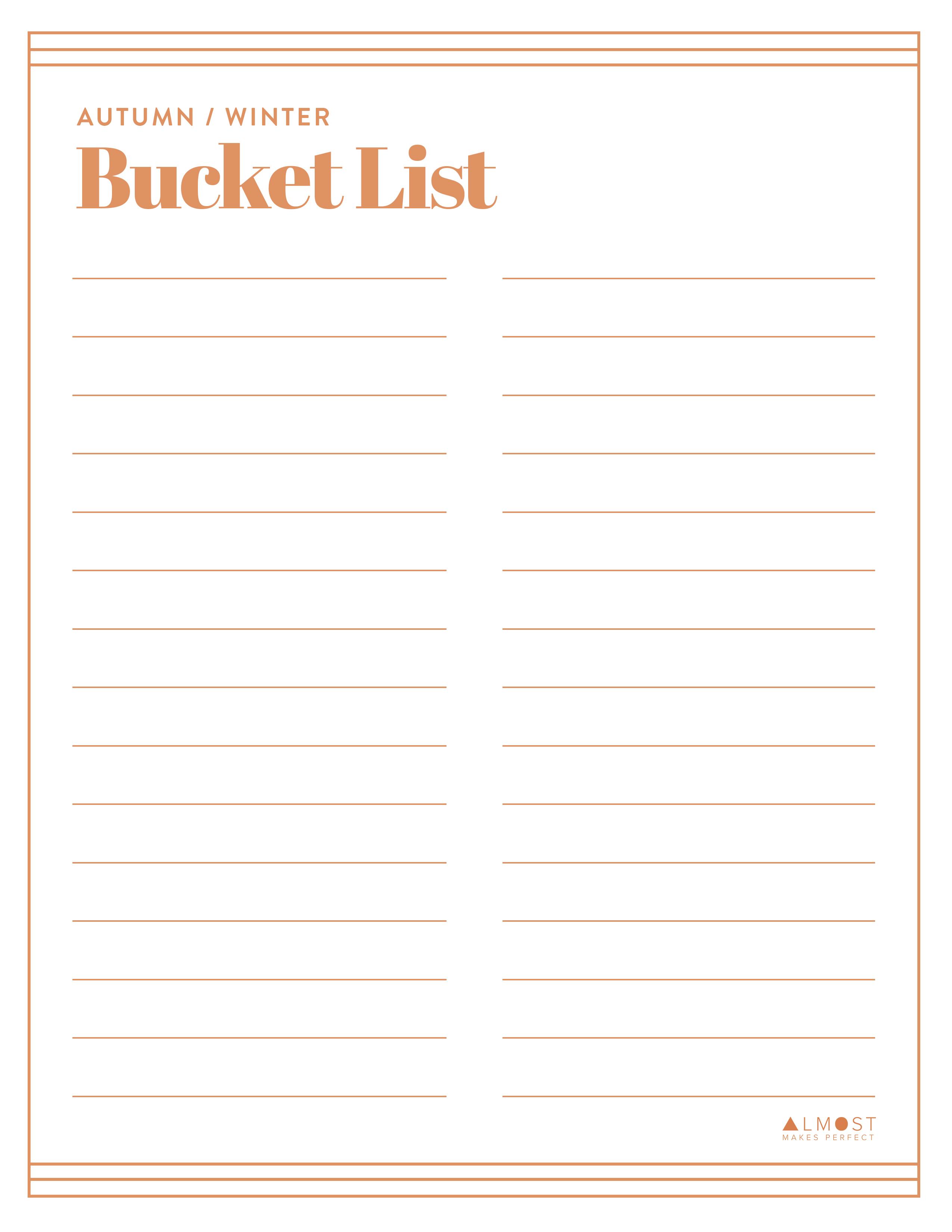 Printable Autumn Winter Bucket List