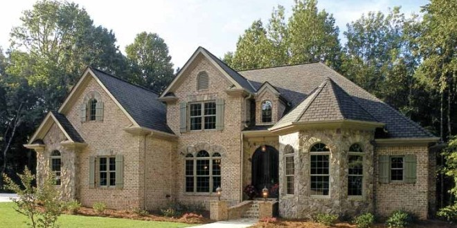Brick Wall Grey Roof Green Lawn Traditional French Country Inspired Homes