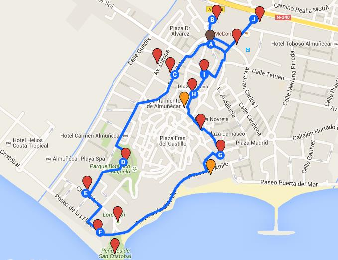 Almunecar Spain Map.The Welcome Walk Map Almunecar Info