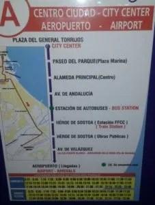 Malaga central bus station - Bus A to Malaga aiport at platform 32