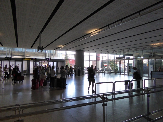Malaga Airport first exit. Car Rental Shuttle people will be standing where this photo was taken.