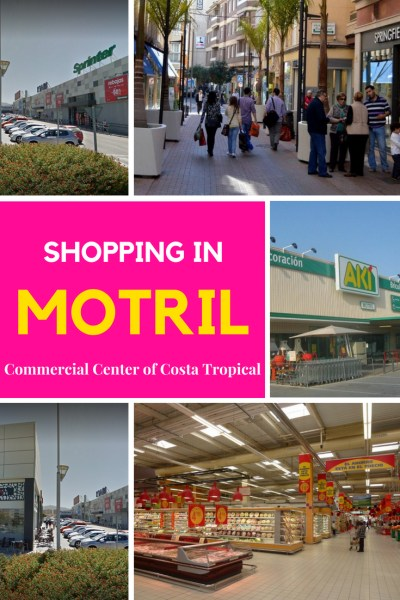 Shopping Motril Spain, the commercial center of Costa Tropical. Shopping in Motril for a day out in Costa Tropical Spain! With a hypermarket, hardware stores, sporting goods & more, just a bit more than Almuñécar. Read more on Almunecarinfo.com
