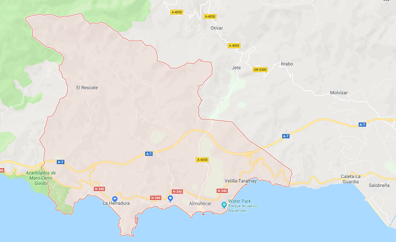 The municipality of Almuñécar stretches from Cerro Gordo Park (Cantarriján Beach) on the west, to the east it takes you along the N340 to just beyond the A7 on/off ramp.  It also stretches inland quit a bit to El Rescate and Peña Escrita natural park.