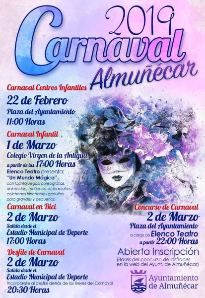 Almuñécar Carnival 2019 - Three days of activities for children, costume contests, bike parade, music and fun. Read more on Almunecarinfo.com