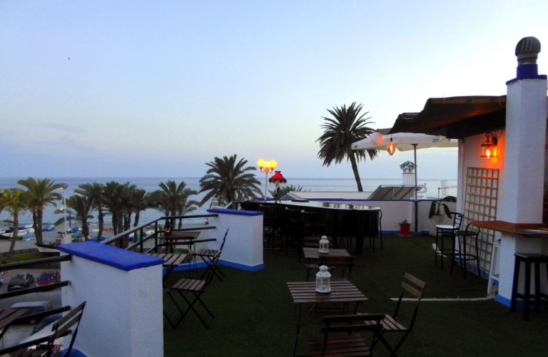 Bombay Sky Bar Perched up on the rooftop of Hotel Playa San Cristóbal. Read more on https://almunecarinfo.com/terrace-restaurants-sky-bar-rooftop-almunecar/