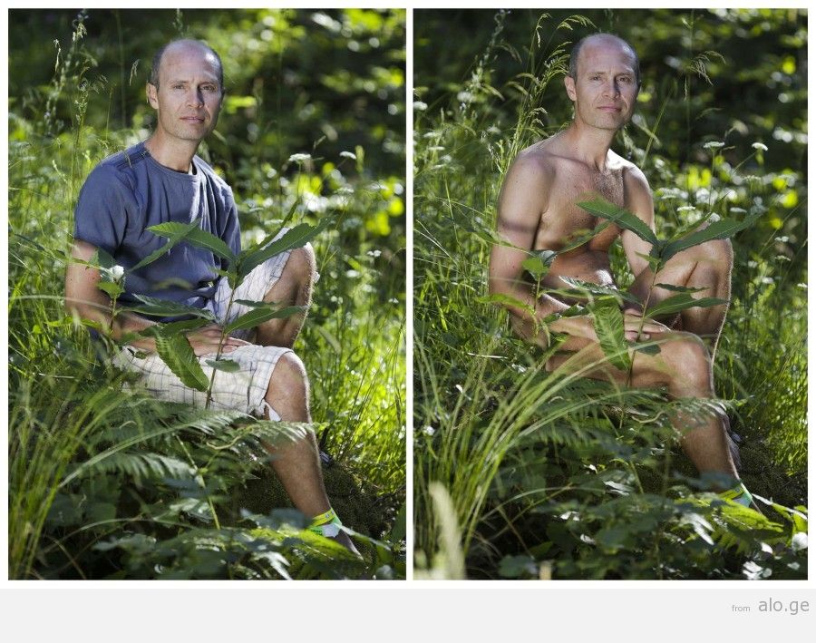 A combination photo shows Claudio posing during the web community's annual gathering on private property at Oasis of Zello naturist resort near Bologna