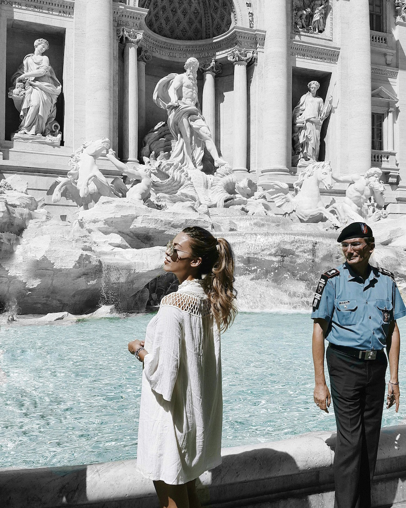 Trevi Fountain Rome Italy guard