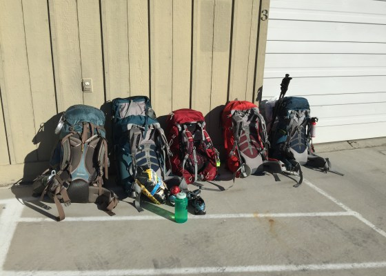 5 loaded packs for backpackng trip