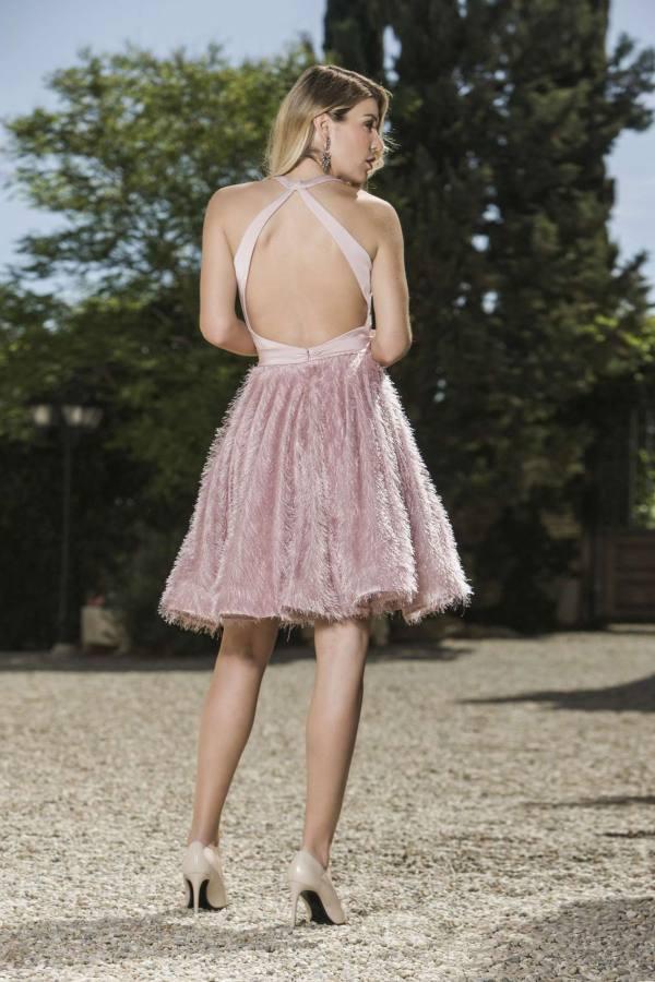 vestido fiesra rosa palo aloha moda