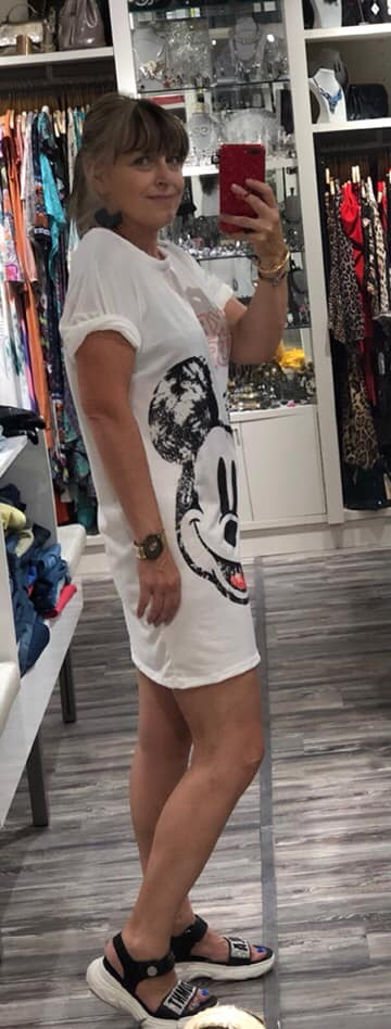 Vestido Mickey fondo blanco Aloha talla unica