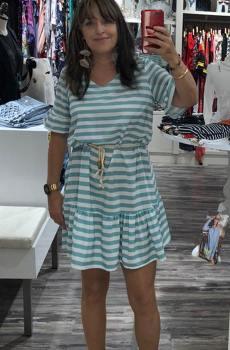 vestido rayas con manga