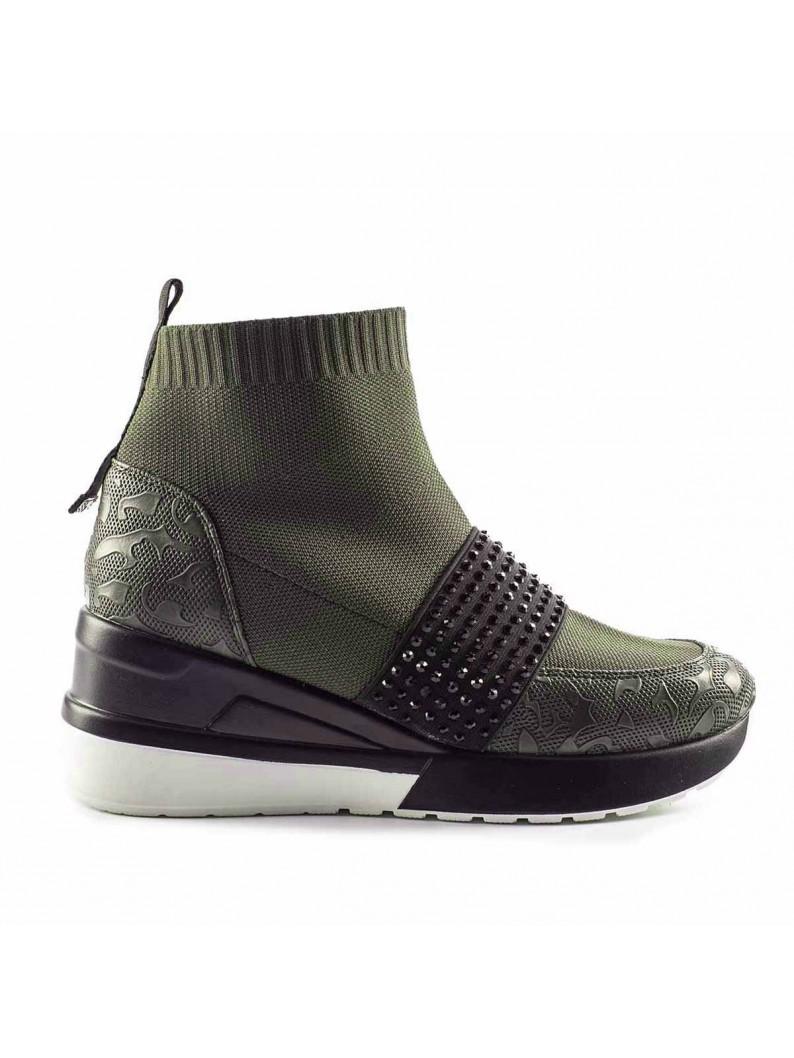 zapatilla calcetin verde