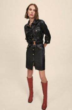 Vestido camisero en corto efecto piel Maite Lola Casademunt