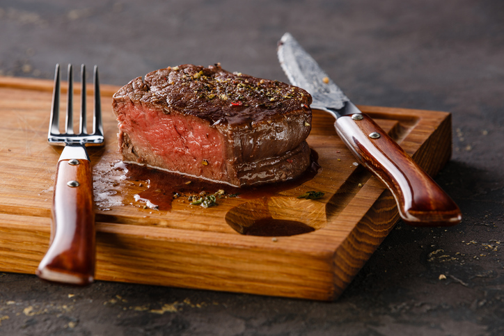 Filet Mignon Steak on wooden board