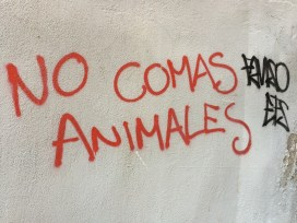 Toledo: Calle Zarzuela- Don't eat animals