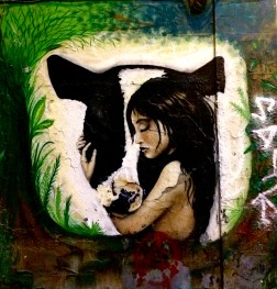 Madrid: Girl and cow