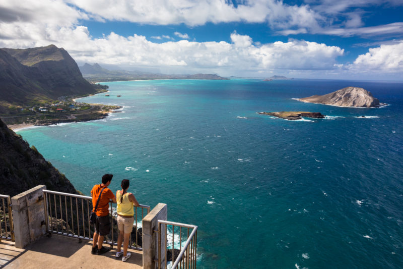 The top of Makapuu lighthouse trail has a beautiful view of Oahu's Eastern shore.