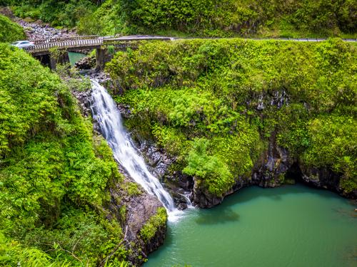 Road to Hana: Wailua Iki Falls and bridge. Hawaii travel. Things to do in Maui. Things to do in Hawaii.