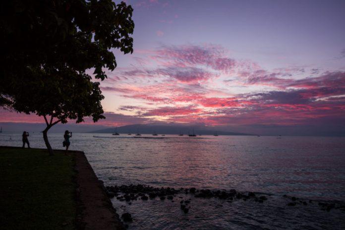 Sunset over Lanai from Lahaina.
