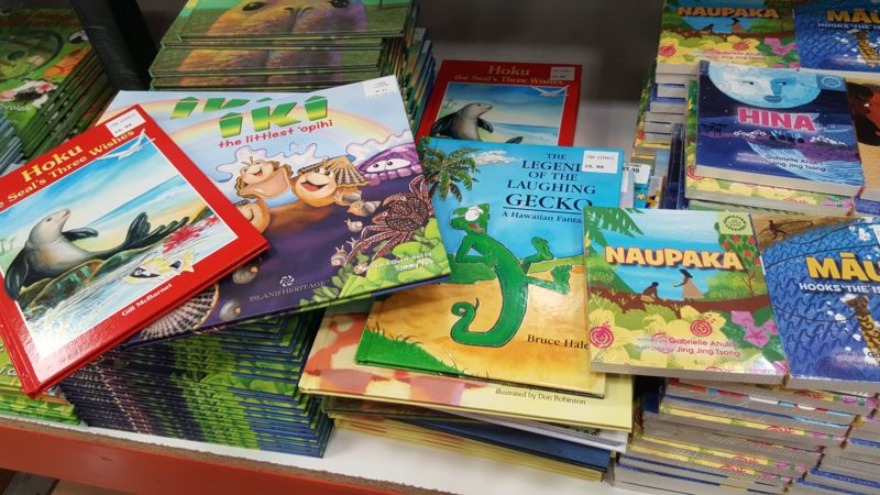 A neat section featuring Hawaiiana in Hawaiian books.