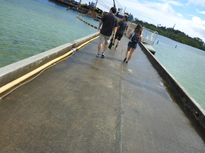 Lilipuna pier to Coconut Island by boat.